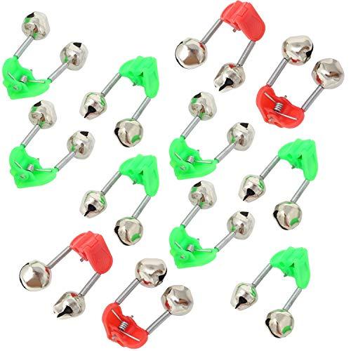 Jowneel 30 Stück Kunststoff-Klemme Angelrute Alarm Dual Alarm Glocken Grün und Rot