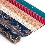 RUSPEPA Rotolo Di Carta Da Imballaggio Regalo - Fantasia Multicolore E Foglia D'Oro Per Matrimoni, Compleanni, San Valentino, Natale-5 Fogli-44,5 X 76CM