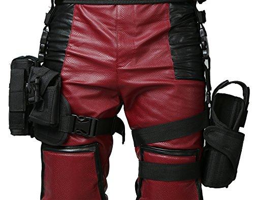 Nexthops Deadpool Grütel mit Beinbeutel Cosplay Holster Verstellbar aus Nylon+Leinwand Kostüm Zubehör für Halloween, Karneval und Kolletion, Schwarz (Deadpool Kostüme Zubehör)