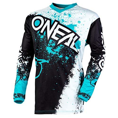 O'Neal Element Impact Jersey Moto Cross MTB MX Mountain Bike Trikot Langarm Shirt Leicht Offroad, E001, Farbe Schwarz Türkis, Größe 2XL