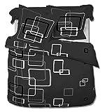 Bettwäsche 200x200 od. 240x220 Doppelbett 3-tlg GRAU 2x Kissenbezug Boxes, Größe:200 x 200 cm