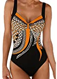 Aleumdr Badeanzug Damen Push up Bademode Bauchweg Figurformend Bandeau große Größen Rückfrei S-XXL, Orange, XX-Large (EU46-EU48)