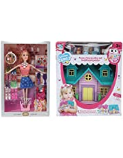 CADDLE & TOES™ Doll House for Girls / Barbie Doll Set with Pink Slippers Doll , 10 Sets of Fashion Accessories, Dress,earings + a Cute Doll House with Doll Free