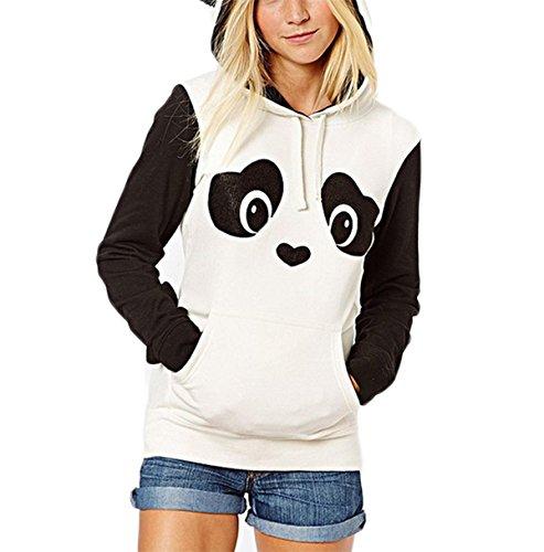 Kapuzenpullover Damen Hoodie Niedlich Panda Sweatshirt Mit Kapuze Pullover Tops Hoodie mit Ohren (XL, (Panda Ohren Hoodie Mit)
