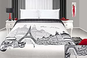 220x240 stahl weiß Tagesdecke Steppbettüberwurf Paris Pop Art France Frankreich Eiffelturm