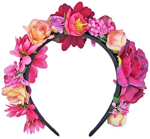 Trachtenland Hochwertiger Blumen Haarreif Blumenwiese - Zauberhafter Haarschmuck zum Dirndl, für Hochzeiten oder Festivals - Pink