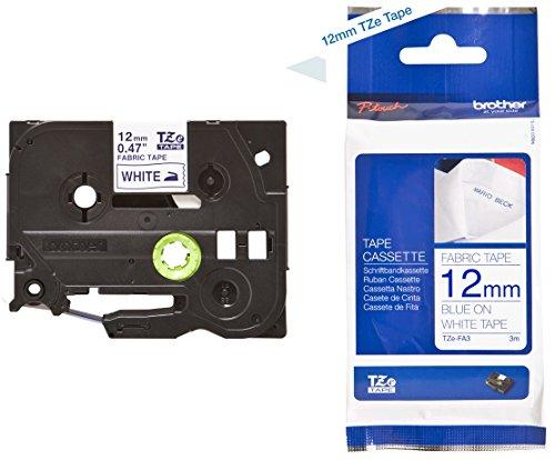 Brother TZe-FA3 P-touch Textil-Aufbügelband (12 mm breit, 3 m lang, blau auf weiß, u.a. für P-touch H200, H100LB/R, H105, E100/VP, D200/BW/VP, waschbar, auch für chemische Reinigung geeignet)