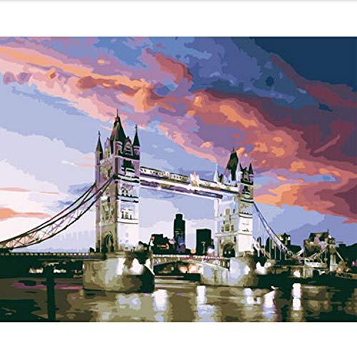 CBUSYS Rahmenlose DIY Gemälde Nach Zahlen Malen Nach Zahlen Für Wohnkultur Ölgemälde 50 * 65 cm London (Diy Dragon Kostüm Kind)