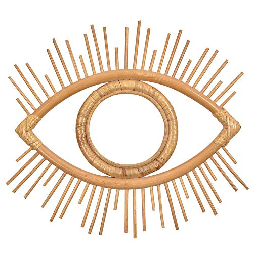 Marco de espejo de ratán Boho Marco de espejo de pared colgante de ojo geométrico vintage Marco de foto artesanal Decoración de arte de pared de mimbre
