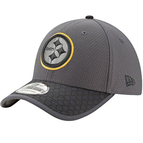 Pittsburgh Steelers New Era NFL 39THIRTY 2017 Sideline Graphite Flex Fit Hat Hut Flex Hut