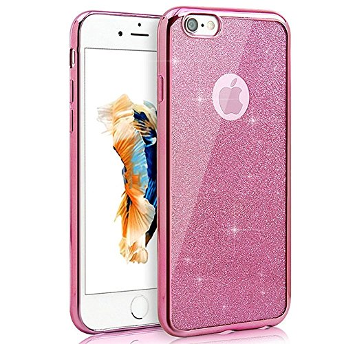 JAWSEU iPhone 7 Coque Liquide Pailletee,iPhone 7S Plastique Etui Transparente Dur Étui Brillant Flash Étoile Love Amour Star Bling Diamant Strass Motif 2017 Neuf Style Liquid Flowing Sables Mouvants P Rose/brillante