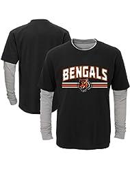 """Cincinnati Bengals Youth Jeunes NFL """"Bleachers"""" L/S Faux Layer Thermal Shirt Chemise"""