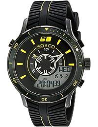 SO & CO New York 5035.6000000000004 - Reloj para hombres, correa de goma color negro