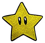 Parche con forma de estrella de Mario Bros de Nintendo, color amarillo y negro, cortada con hierro y bordado, para costura o como regalo