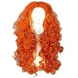 COSPLAZA de larga de pelo rizado de color naranja valiente diseño de personajes de manga de ratón de las pelucas Mérida de noche de brujas y para el pelo