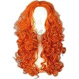 COSPLAZA largo rizado naranja Anime de Cosplay pelucas Brave Merida Halloween Cabello