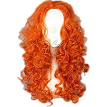 Peluca. COSPLAZA de larga de pelo rizado de color naranja valiente diseño de personajes de manga de