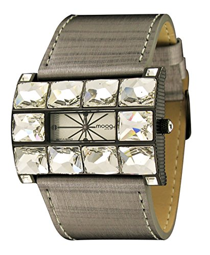 Moog Paris Crystal Women's Watch with Silver Dial, Black Genuine Leather Strap & Swarovski Elements - M45322-001