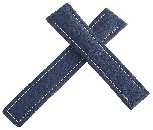 Tag Heuer blau Leder weiß Maschen Uhrenarmband 18mm