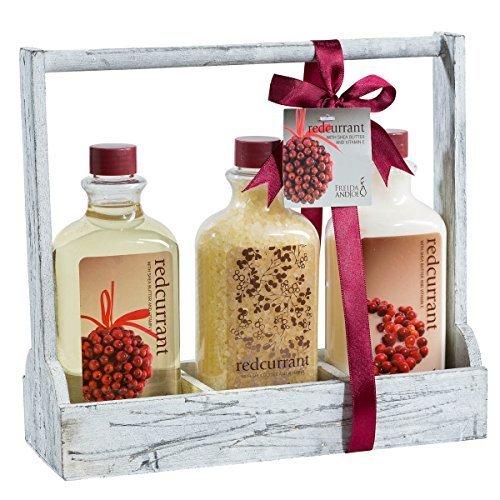 Redcurrant! Distress white wooden three sectional caddy perfumed bath gift set by Freida Joe -