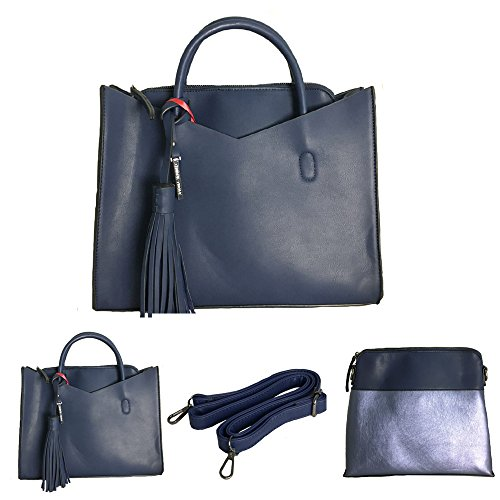 BORSA DONNA SIMIL PELLE A TRACOLLA A MANO SET 2 PEZZI BAG BORSELLO BORDEAUX GRIGIO NERO BLU MARRONE Blu