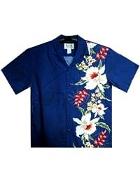 KY's | Chemise Hawaïenne D'Origine | Pour Hommes | S - 8XL | Manche Courte | Poche Avant | Hawaiian-Imprimer | Fleurs | Bleu