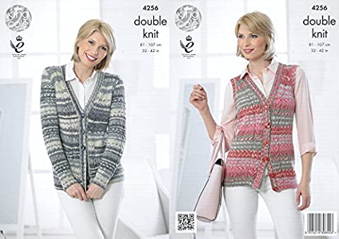 King Cole Ladies Double Knitting Pattern Womens Cable Knit Cardigan & Waistcoat Drifter DK (4256) by King