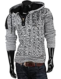 Tazzio Veste pull tricot large torsade pour homme