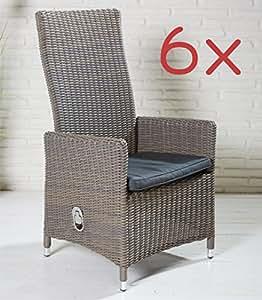 6x Gartenstuhl Gartensessel braun grau meliert mit verstellbarer Rückenlehne