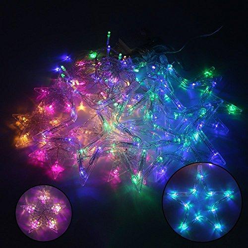 MJTP 138 LEDs 12 Sterne LED Lichterketten 8 Licht Modi Streifen Weihnachten Baum XMAS Party Hochzeit Kinderzimmer Dekoration Draussen Innen Lampen (Bunt) - 4