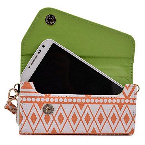 Kroo Pochette/étui style tribal urbain pour Samsung Galaxy Win bleu marine White and Orange