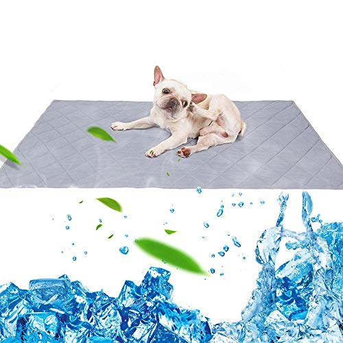 LAYOPO Kühlmatte für Hunde, ungiftig, langlebig, für Haustiere, atmungsaktiv, Kühldecke, 80 x 110 cm, Grau