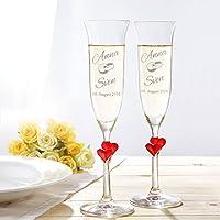 Il set regalo di nozze con due flûte con incisione personalizzata - un prodotto di qualità dal marchio Casa Vivente! Non c'è momento migliore di un matrimonio per brindare a un lungo e felice futuro insieme...