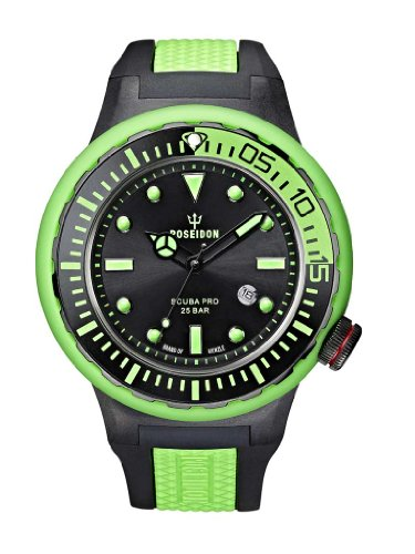 Poseidon Herren-Armbanduhr XL Scuba PRO Analog Quarz Kautschuk K2081243033-00395