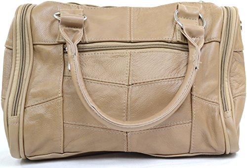 Schultertasche aus Leder Beige weichem Damenhandtasche WSfFnqX