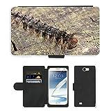 Just carcasa caliente estilo ranura de tarjeta de teléfono celular Funda de piel sintética//m00140185Caterpillar Oriental Verde larvas//Samsung Galaxy Note 2II N7100