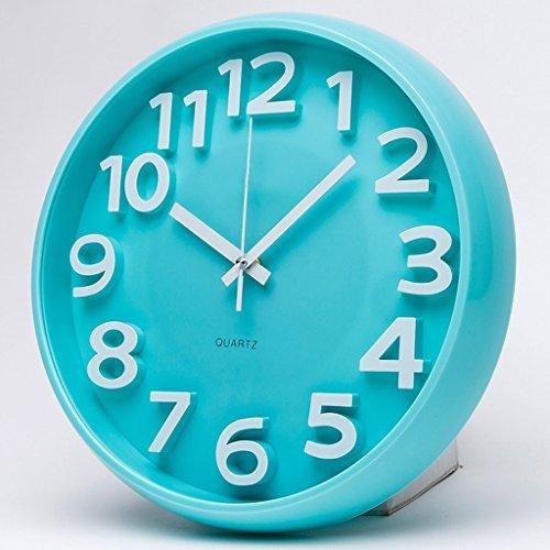 EDSH horloge murale 14 pouces créatif à l'échelle européenne, pas de tique, chambre, mur, horloge, horloge, horloge murale (Couleur : Bleu)