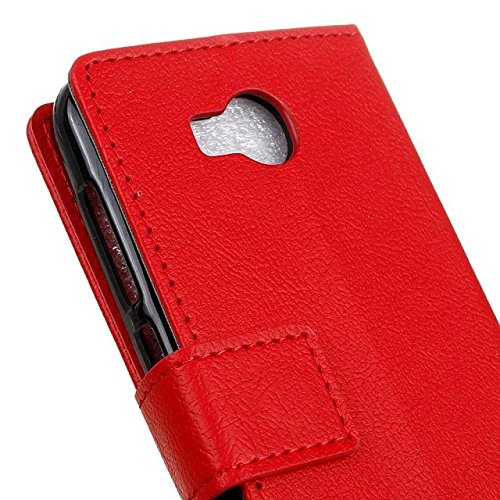 Solid Color Kas Textur Muster Leder Schutzhülle Case Horizontal Flip Standplatz Fall mit Kartennuten für Huawei Y3 2 GEN ( Color : Pink , Size : Huawei Y3 2 GEN ) Red
