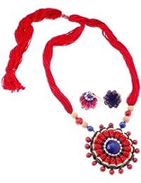 More Bangla Women's Pride Puja Bahaar Terracotta Jewellery Set (Red)