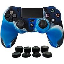 Hikfly Silicona Gel Control de Aceite de Goma Cubierta de Piel Protectora Caso Faceplates Kits para Sony Playstation 4 PS4 / PS4 Slim / PS4 Pro Juegos de Controladores (1x Controlador Cubierta con 8 x FPS Pro Pulgar Tope Tapas)(Azul Camuflaje)