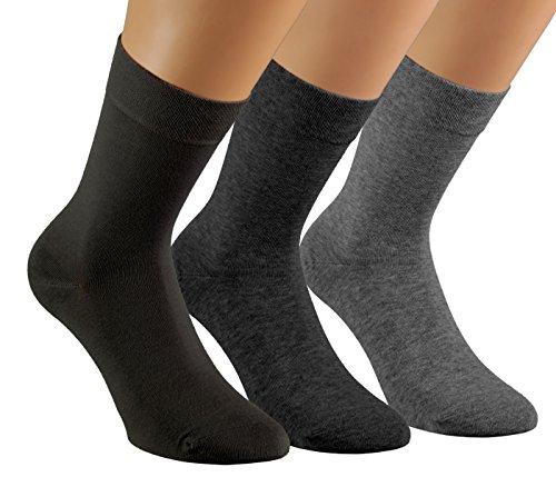 Vitasox 13357 Damen Socken feine Wollsocken Damensocken Wolle grau anthrazit schwarz uni einfarbig ohne Naht ohne Gummi 6er Pack 39/42