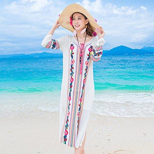 2016 neuen Sommer - Strand - Rock - langarm - stickereien aus Baumwolle und Leinen Nation zu westlichen kleid Weiße