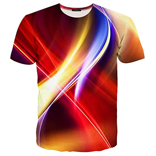 EOWJEED Unisex Casual 3d Kreatives Galaxy Pattern Gedruckt Kurzarm T-Shirts Top Tees - S (Mens Tee Collage)