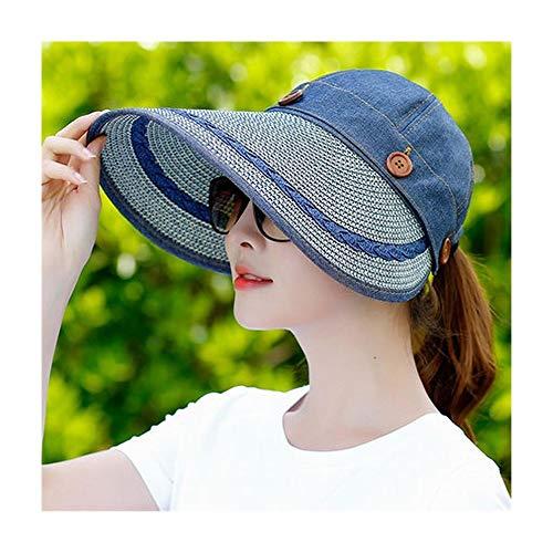 BAACHANG UV-Schutz Strohhut Leere Top Sonnenhut Weiblicher Sommer Sonnenschutz Falten Outdoor Radfahren Strand Hut (Farbe : Marine) -
