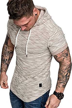 Amaci Sons Oversize Vintage Herren Kurzarm T-Shirt Kapuzen ... ffcf9e2955