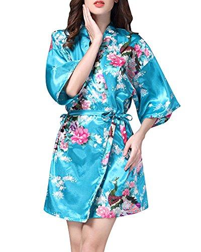 Damen Morgenmantel Glatte Satin Nachtwäsche Bademantel Peacock Blume Kimono Schlafanzug See Blau