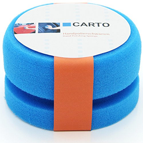 CARTO Profi Handpolierschwamm mit Griffleiste, weich, blau - Auto-Polierschwamm/Auto-Schwamm/Polier-Pad