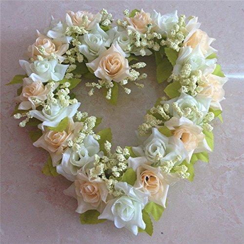 Bluelover 6 colori simulazione fiore cuore corona artificiale rosa cuore Garland casa Wedding Decor-bianco