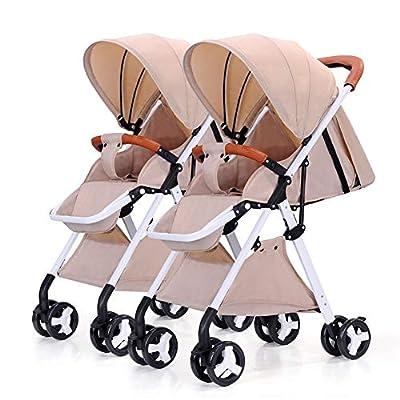 Strollers NAUY @ Cochecito de bebé Gemelo, Desmontable Ligero Suspensión Plegable Carro Infantil Doble Marco Blanco Sillas de Paseo