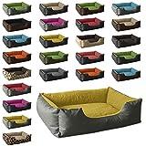 BedDog Hundebett LUPI / Hundesofa aus Cordura & Microfaser-Velours / waschbares Hundebett mit Rand / Hundekissen vier-eckig / für drinnen & draußen / XL / YELLOW-ROCK / grau-gelb